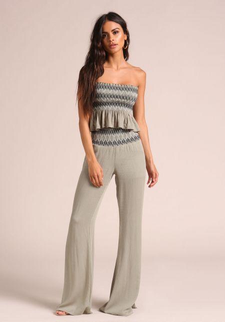 Olive Stitched & Smocked Gauze Pants