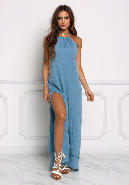Dusty Blue High Slit Halter Maxi Dress