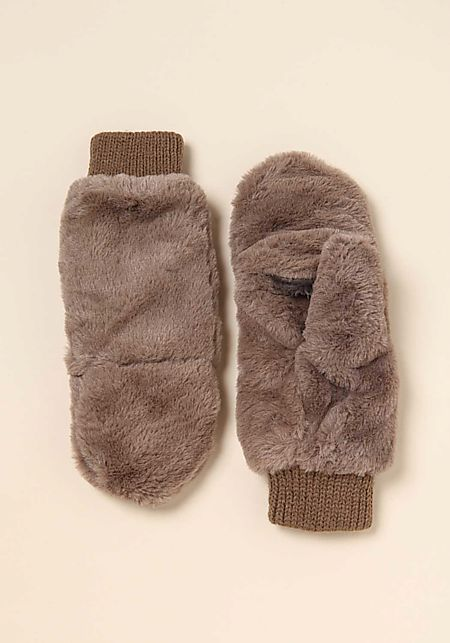 Taupe Faux Fur Slit Mittens