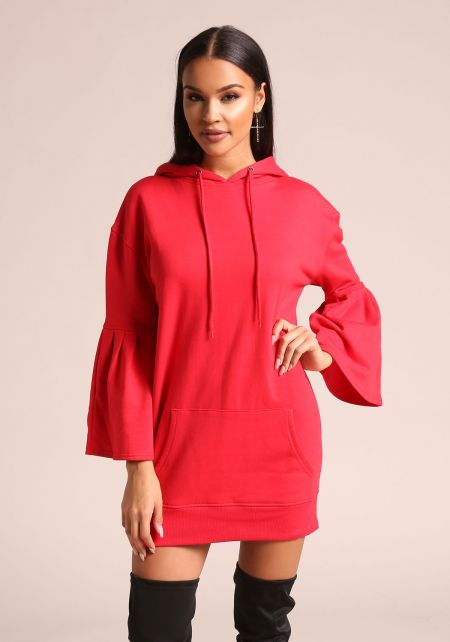 Red Bell Sleeve Hooded Tunic Sweater
