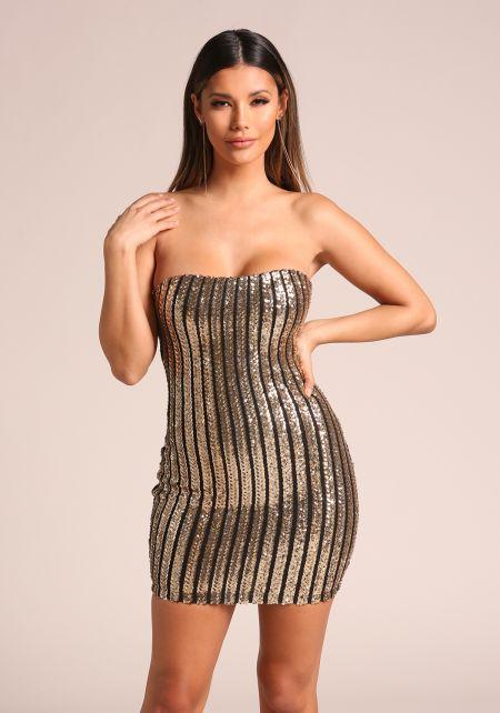 Gold Sequin Strapless Pinstripe Bodycon Dress