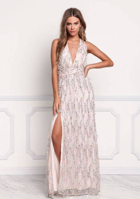Blush Sequin Multi Wrap Maxi Gown