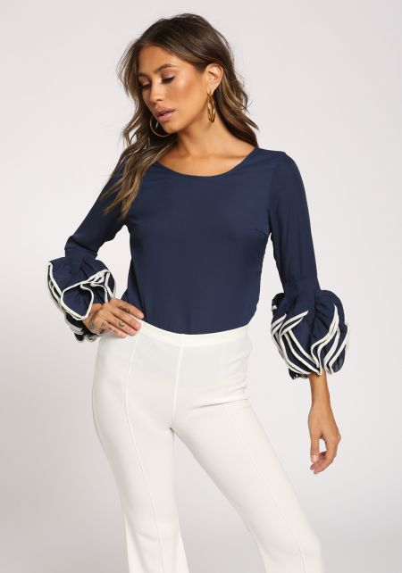 Navy Ruched Puff Sleeve Blouse