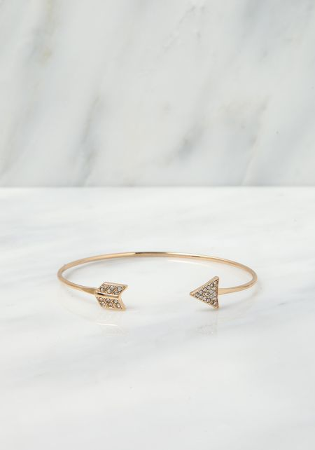 Gold Rhinestone Arrow Cuff Bracelet