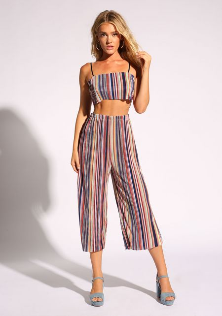 Multi Pinstripe Cropped Culottes Pants