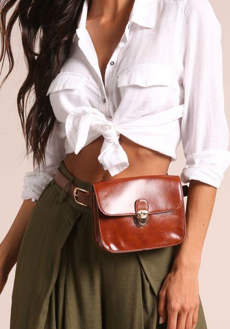Brown Leatherette Fanny Belt