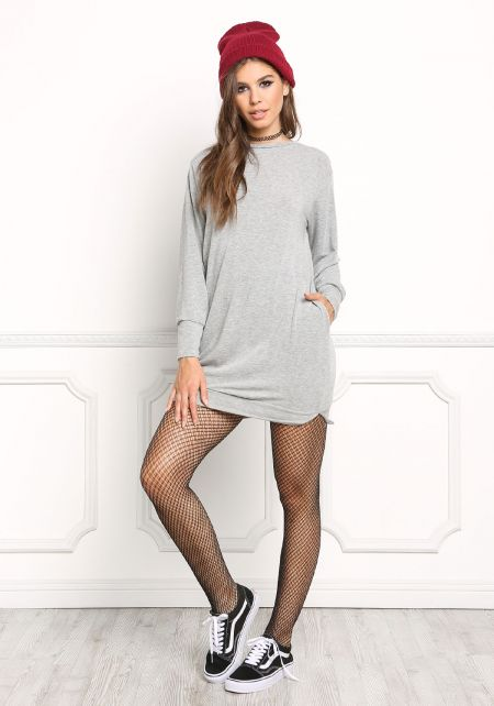 Heather Grey Pullover Sweater Dress