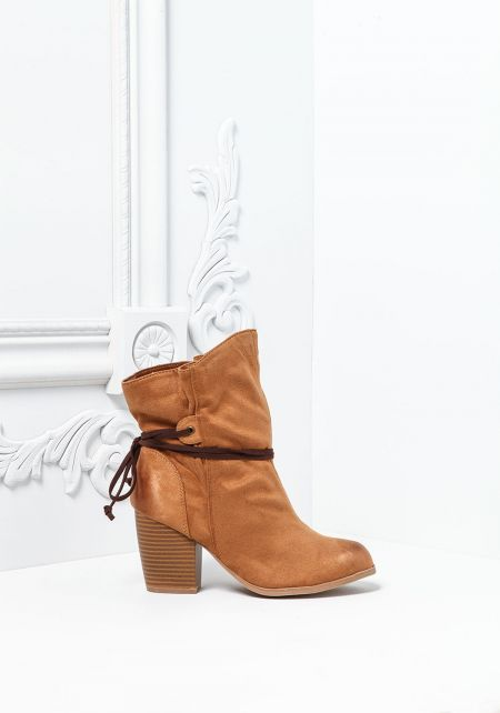 Camel Suedette Strap Stacked Booties