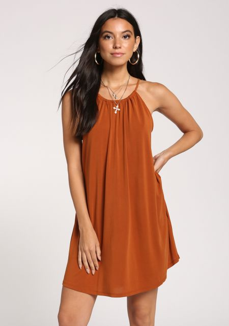 Rust Tank Shift Knit Dress