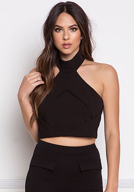 Black Overlap Halter Crop Top