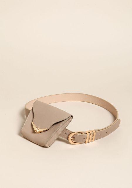 Taupe Leatherette Fanny Belt