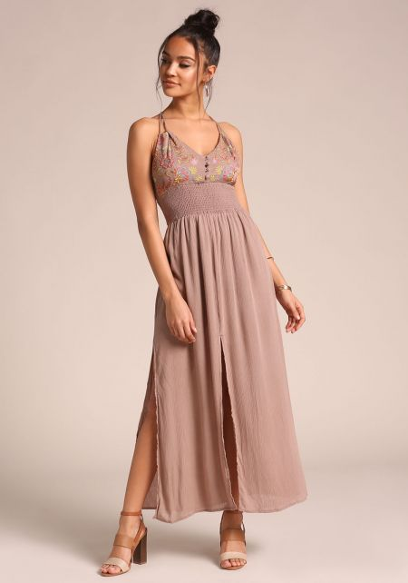 Taupe Smocked Crepe Slit Maxi Dress