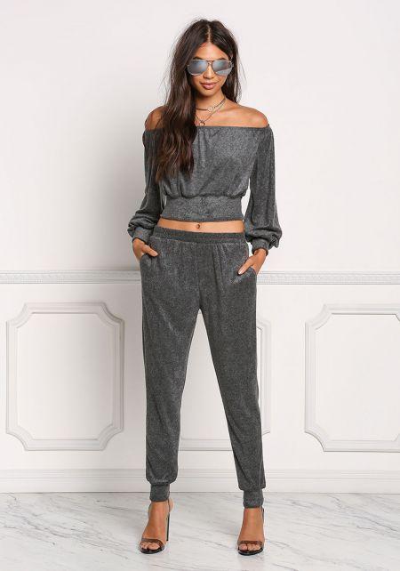 Charcoal Soft Knit Jogger Pants