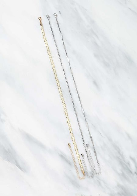 Silver Assorted Chain Chokers Set