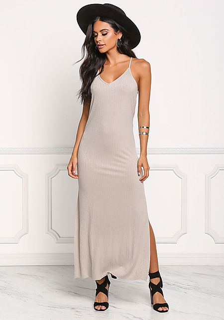 Stone Ribbed Knit Slit Maxi Dress