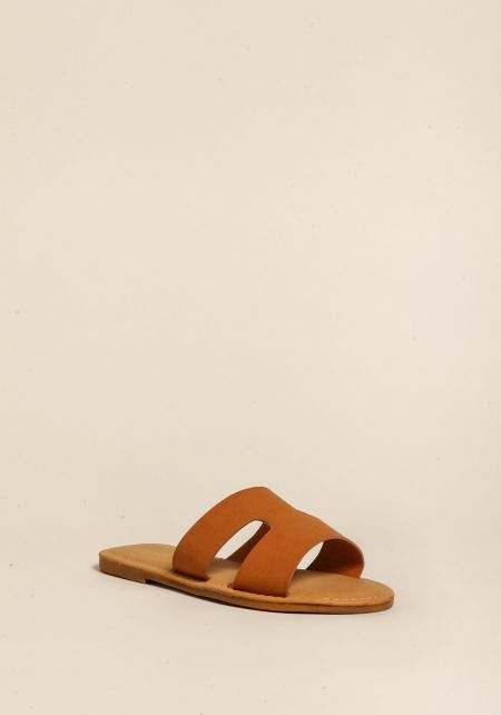 Tan Leatherette Cut Out Sandals