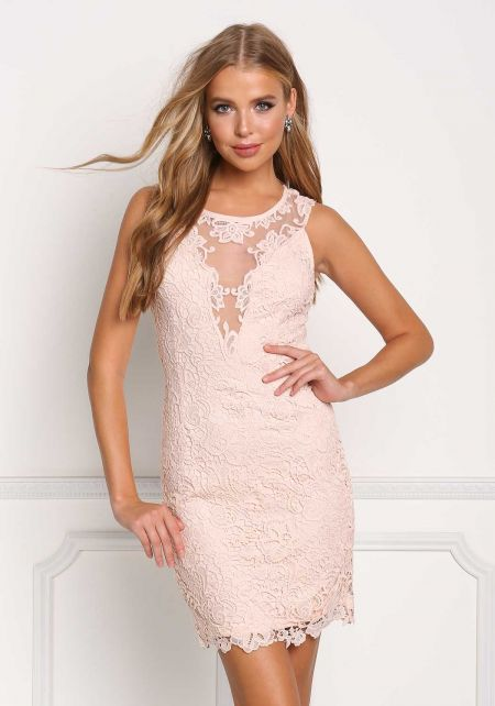 Blush Floral Embroidered Tulle Dress