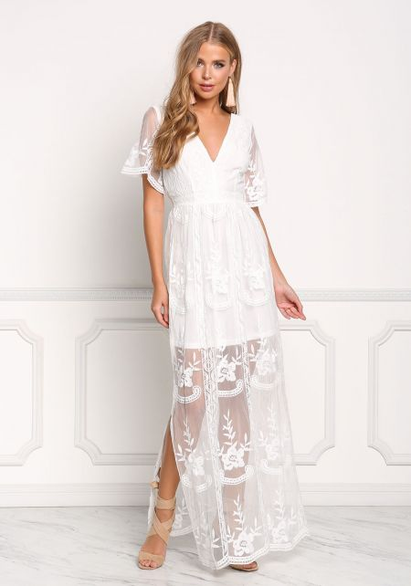 Ivory Tulle Embroidered Slit Maxi Dress