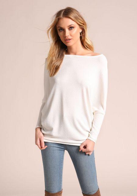 White Textured Knit Dolman Top