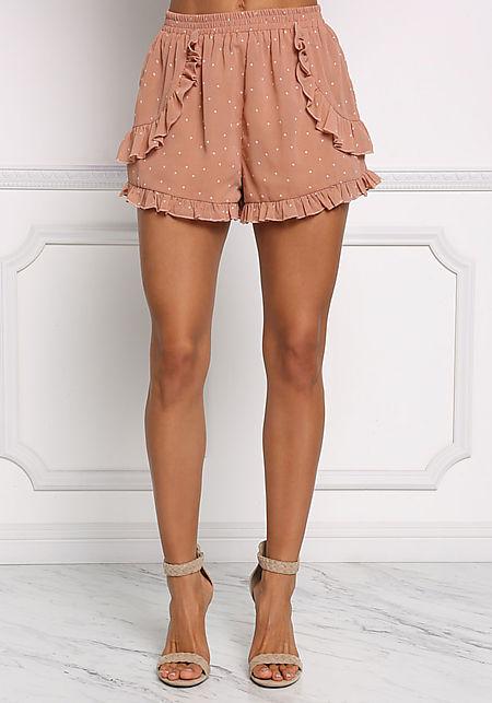 Mocha Polka Dot Ruffle Shorts
