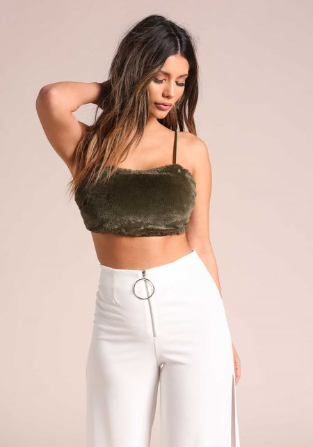 Olive Faux Fur Cami Crop Top