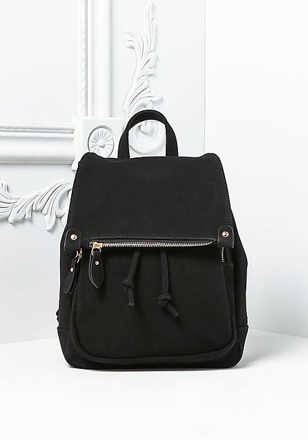Black Multi Pocket Drawstring Backpack