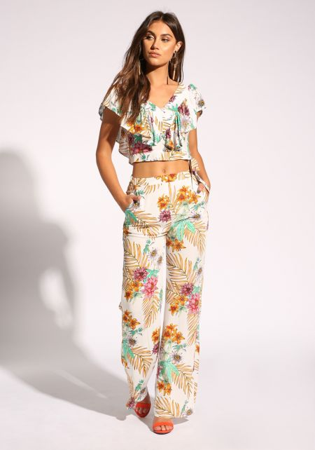 Multi Floral Palazzo Pants