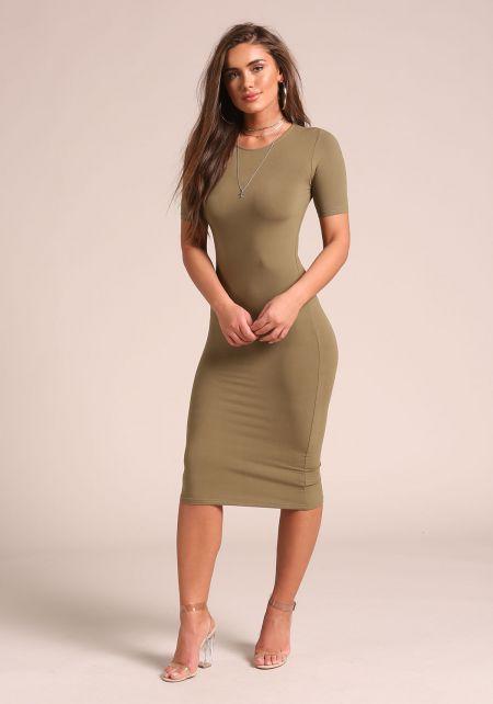 Olive Minimalist Bodycon Dress