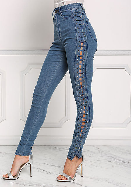 how to make lace up jeans
