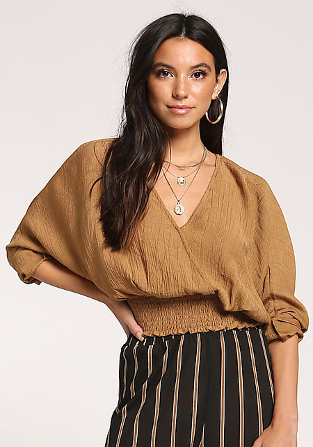 Dark Mustard Smocked Crepe Crop Top