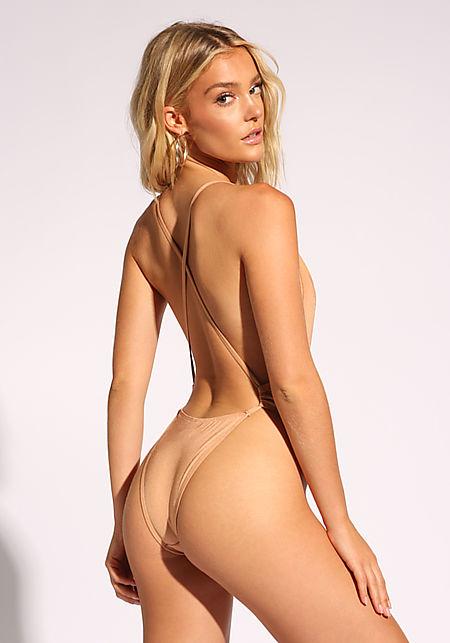 Nude Cross Strap Metallic Swimsuit Monokini