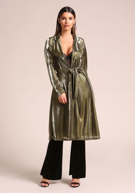 Gold Metallic Cinched Duster Jacket