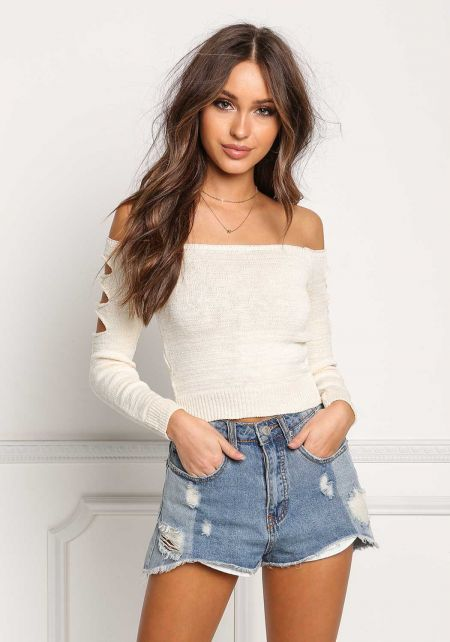 Natural Sleeve Cut Out Off Shoulder Crop Top