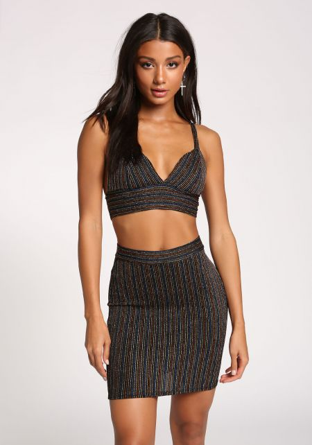 Multi Sparkle Stripe Crop Top & Skirt Set