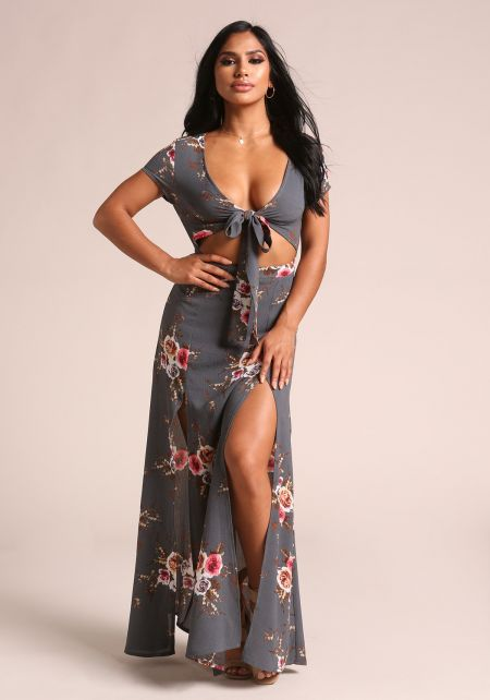 Grey Floral Cut Out Two Slit Maxi Dress