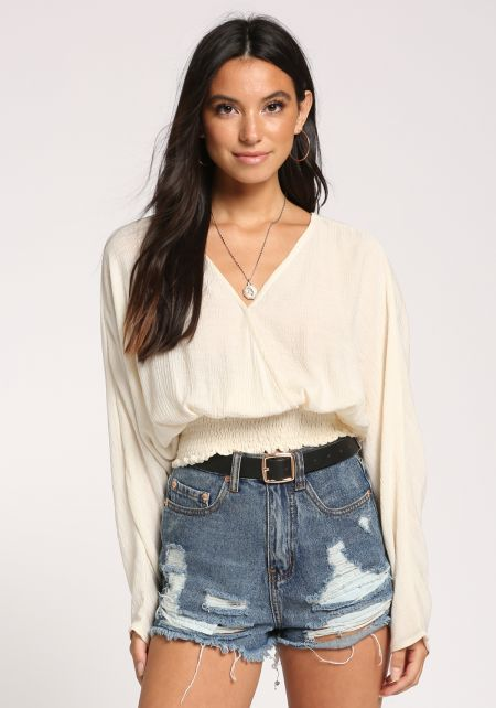 Cream Smocked Crepe Crop Top