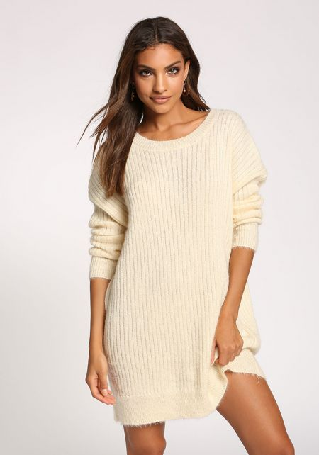 Cream Fuzzy Knit Tunic Sweater Top