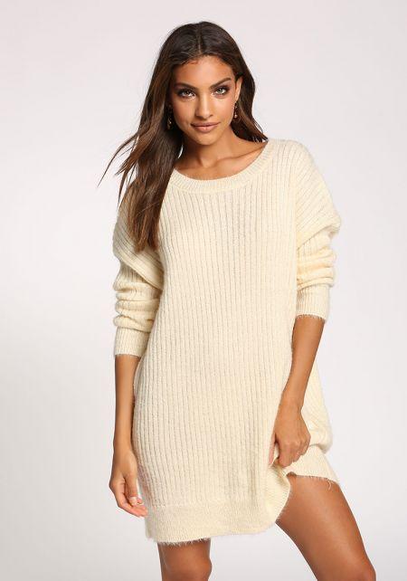 Cream Fuzzy Knit Tunic Sweater Top