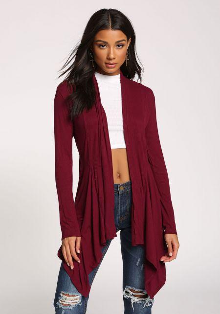 Burgundy Light Ribbed Knit Cardigan