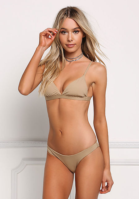 Beige Triangle Swimsuit Bikini Top