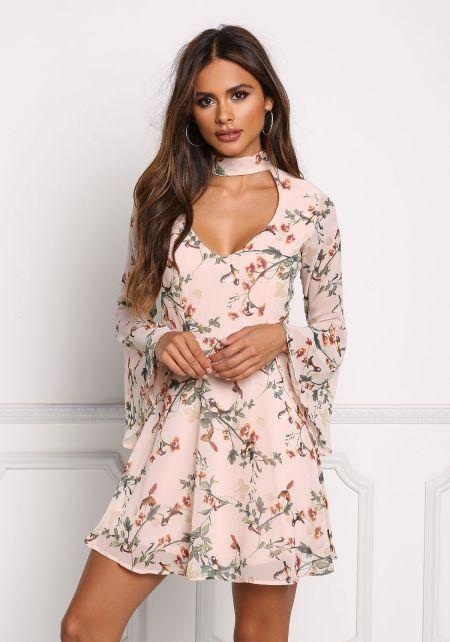 Blush Chiffon Floral Cut Out Flared Dress