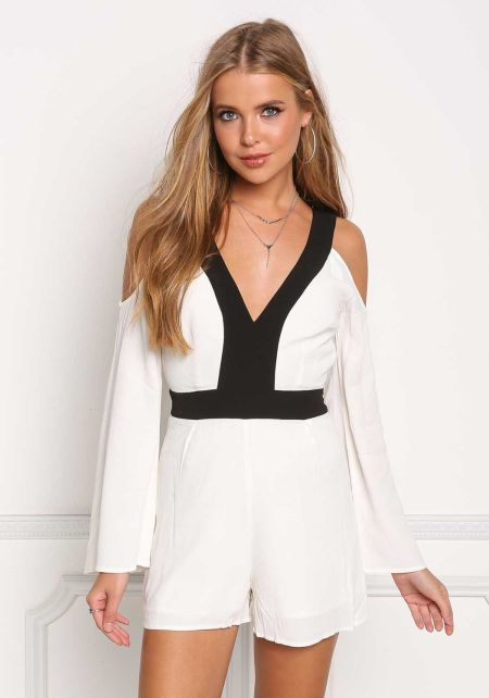 Ivory Cold Shoulder Deep V Two Tone Romper