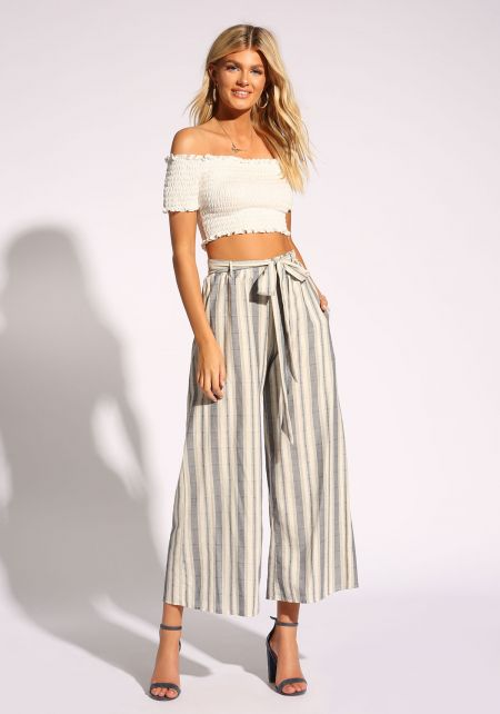 White and Navy Stripe Waist Tie Palazzo Pants