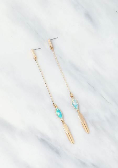 Gold Long Teardrop Stone Earrings