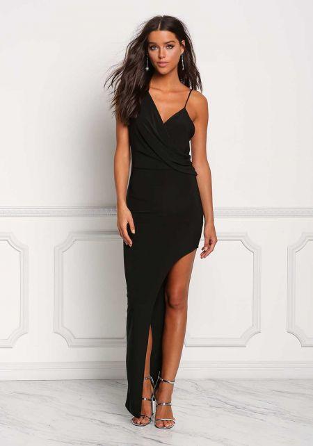Black Draped One Shoulder Side Slit Maxi Dress