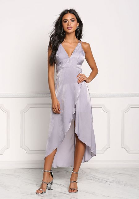 Lavender Silky Hi-Lo Surplice Midi Dress