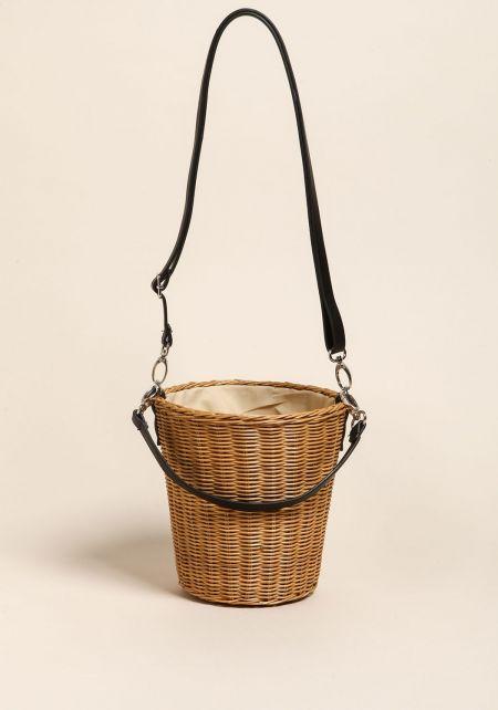 Beige Straw Basket Bucket Crossbody Bag