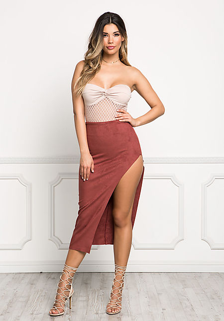Burgundy Suedette High Rise Slit Midi Skirt