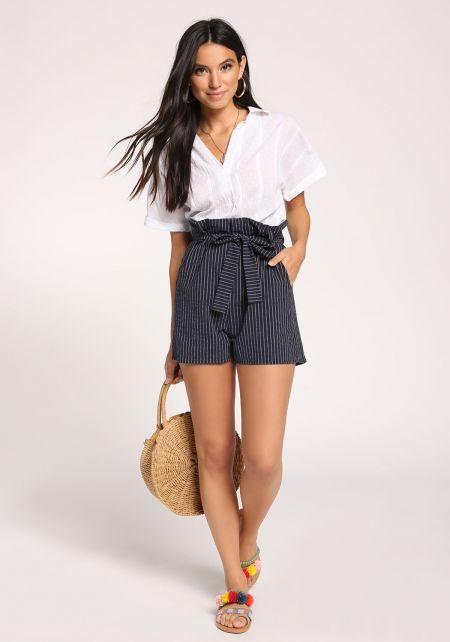 Navy Pinstripe Paperbag Shorts