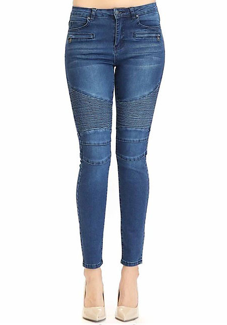 Blue Embossed Zipper Trim Skinny Jeans